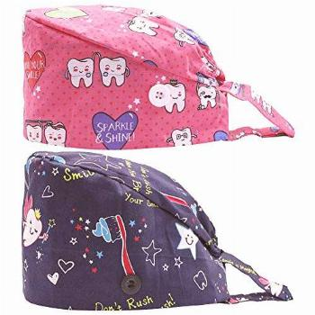 2PCS Fun Printed Working Hat with Buttons, Upgrade