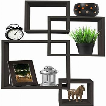 Greenco 4 Cube Intersecting Wall Mounted Floating Shelves