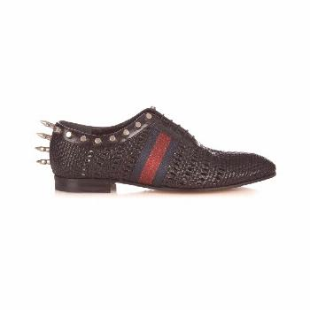Gucci Spike-embellished woven-leather derby shoes (8,790 EGP) ❤ liked on Polyv... -  Gucci Spike-