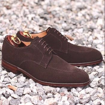 Handmade Mens Chocolate brown Suede Derby Shoes, Suede dress shoes for men