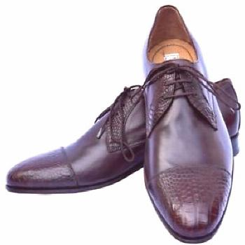 Nice Events Wears In Chocolate Brown Crocodile Leather Toe & Throat Derby Shoes  &
