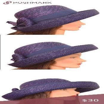 Vintage Woven Purple Bow Bowler Derby Hat Ladies Woven Bowler Hat Purple One size   Bow detail Navy