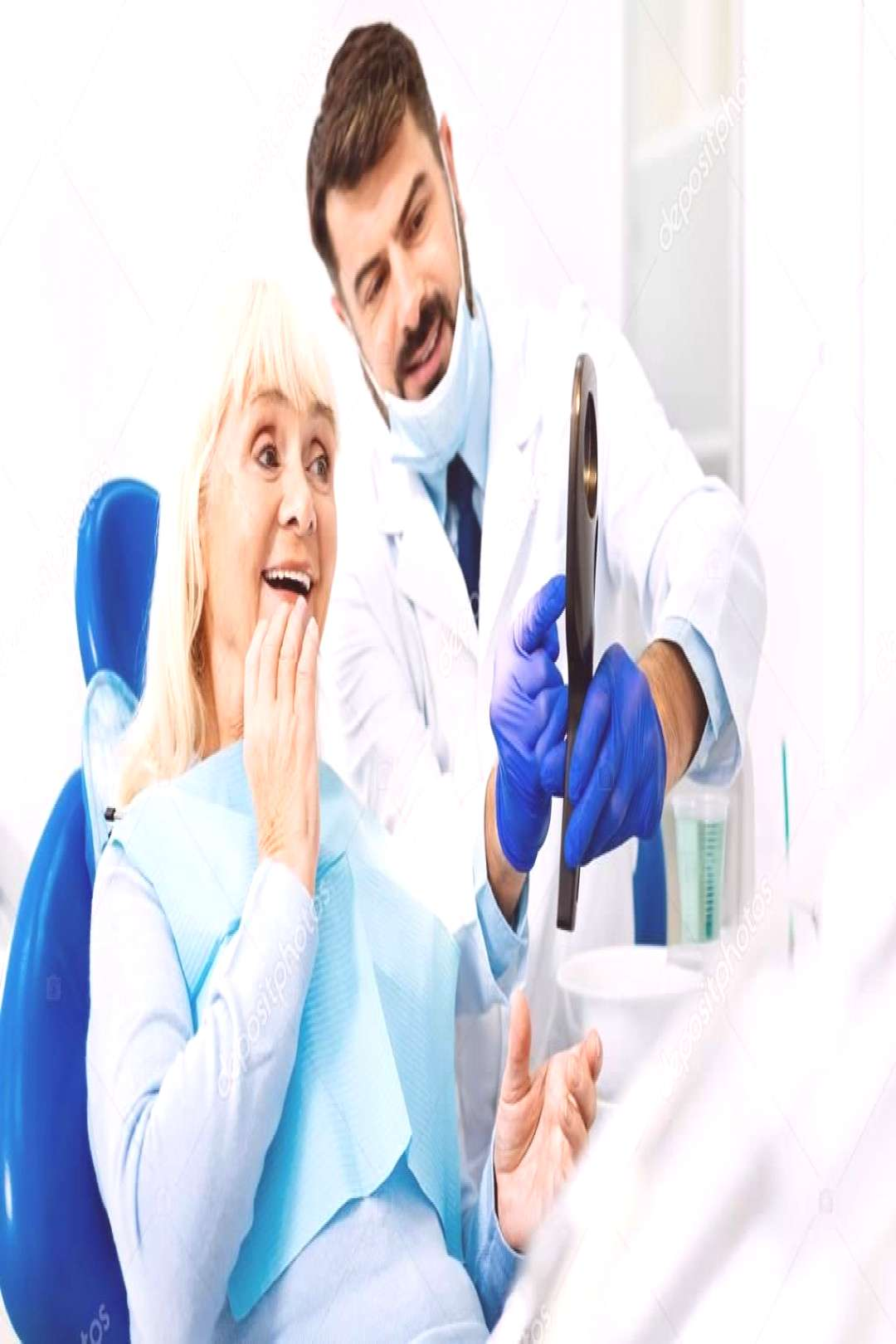 Cheerful woman having a look at dentists work - Stock Photo ,