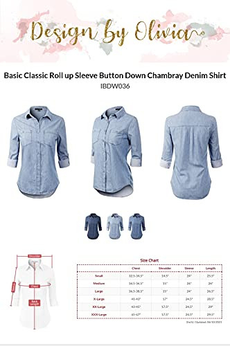 Design by Olivia Womens Basic Classic Roll up Sleeve Button