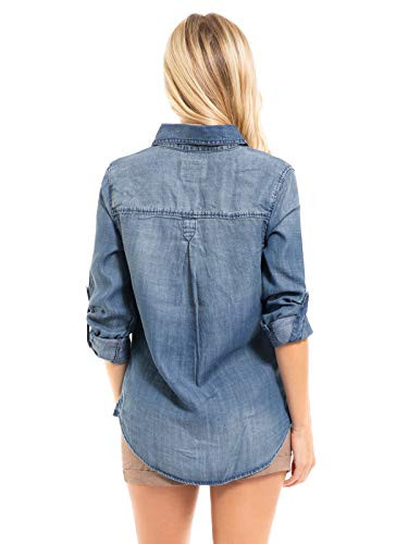 Design by Olivia Womens Classic Long/Roll Up Sleeve Button