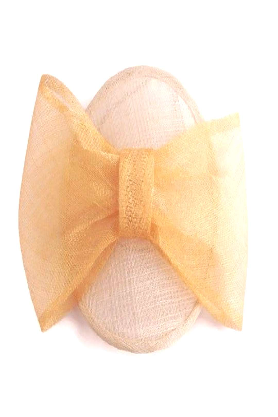 Gold bow Fascinator for Derby Ascot and Wedding Guests, Gold Neutral Designer Hatinator, Disc Sauce