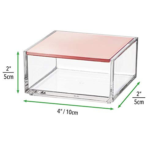 mDesign Mini Makeup Organizer Box with Decorative Lid for