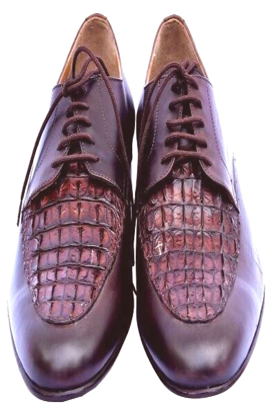 Official Pairs Falcon Brown Crocodile Leather Vamp Derby Formal Shoes For Men