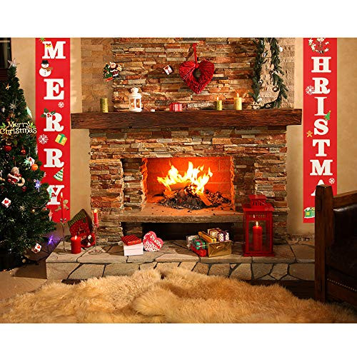 SIENON Merry Christmas Banners, Welcome Bright Red Christmas