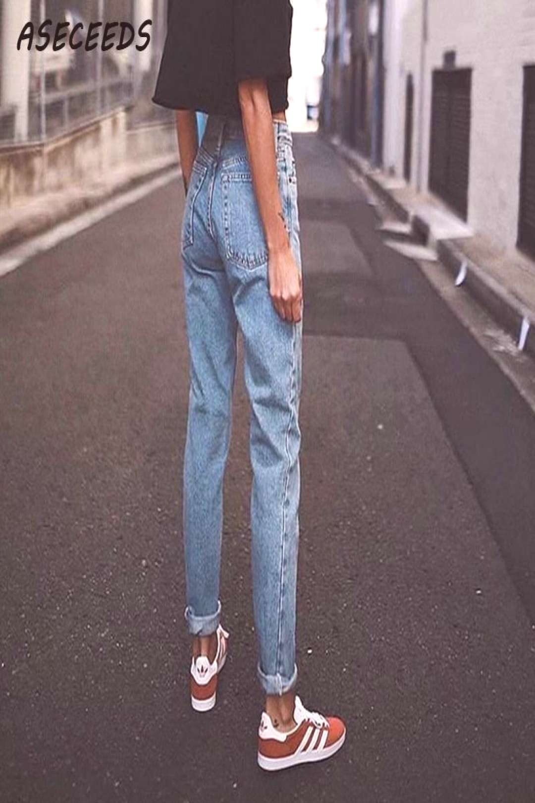 Vintage ladies boyfriend jeans for women mom high waisted jeans blue casual pencil trousers korean